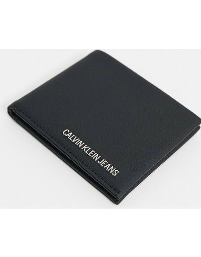 Portafoglio Nero uomo Portafoglio a libro in pelle nera - Calvin Klein Jeans - Nero