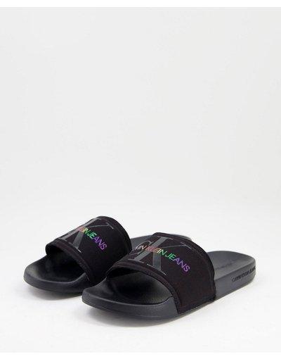 Novita Nero uomo Sliders nere con logo - Calvin Klein Jeans - Pride - Nero