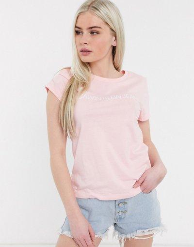 T-shirt Rosa donna shirt rosa con logo istituzionale - Calvin Klein Jeans - T