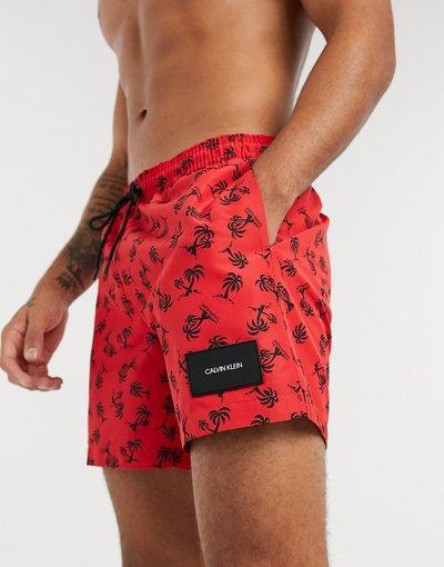 Costume Rosso uomo Pantaloncini da bagno media lunghezza con stampa con palme - Calvin Klein - Rosso