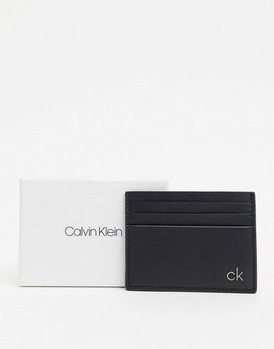 Portafoglio Nero uomo Portacarte in pelle liscia nero - Calvin Klein