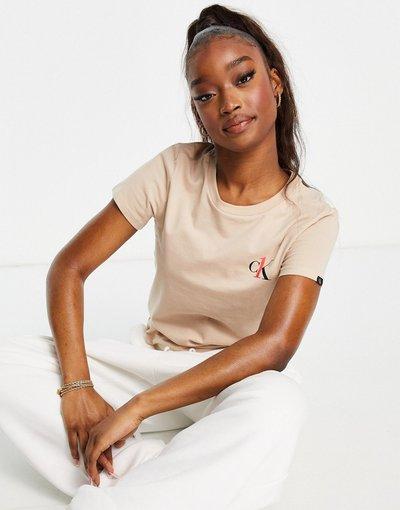 Pigiami Neutro donna shirt girocollo da casa con logoCK Onebeige - Calvin Klein - Neutro - T