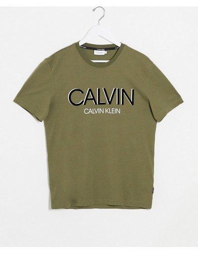 T-shirt Verde uomo shirt kaki con grande logo ombreggiato a contrasto - Calvin Klein - Verde - T