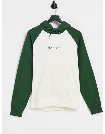 Felpa Bianco uomo Felpa con cappuccio in bianco sporco e verde con maniche raglan e logo - Champion