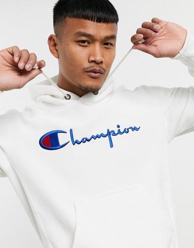 Felpa Bianco uomo Felpa con cappuccio e logo grande bianca - Champion Reverse Weave - Bianco