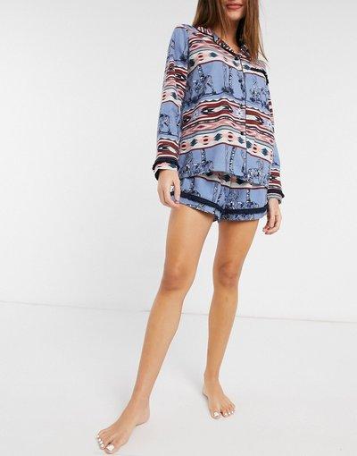 Pigiami Blu donna Pigiama con rever e pantaloncini in cotone organico e stampa azteca, colore blu - Chelsea Peers