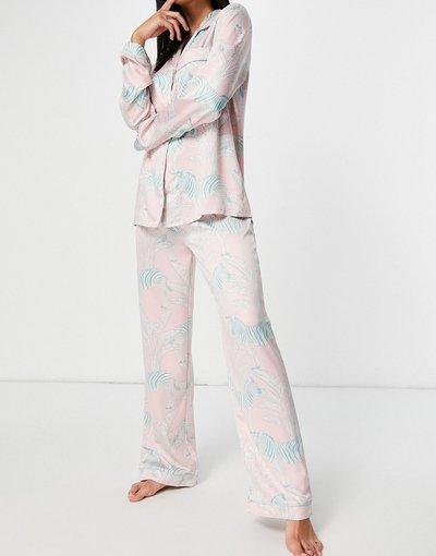 Pigiami Rosa donna Pigiama premium in raso rosa pastello con stampa di zebre e rever lungo - Chelsea Peers