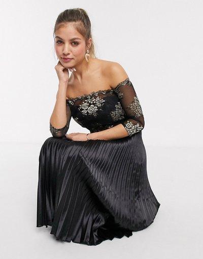 Nero donna Vestito midi in raso nero con ricami oro - Chi Chi - Aivana