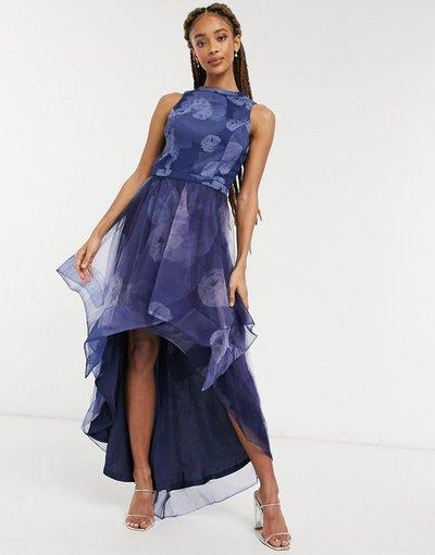 Blu navy donna Vestito in rete con fondo asimmetrico blu navy a fiori - Chi Chi London - Farcia