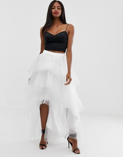 Bianco donna Gonna in tulle a strati - Chi Chi London - Bianco