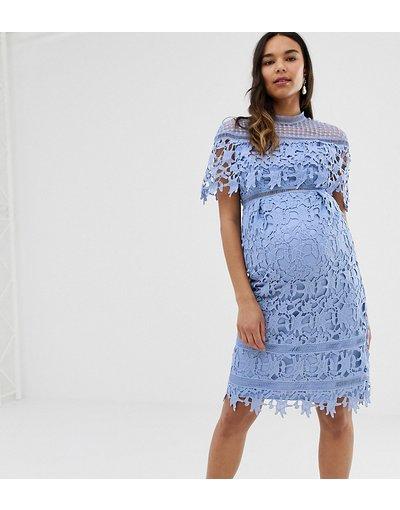 Blu donna Vestitino accollato in pizzo blu fiordaliso - Chi Chi London Maternity