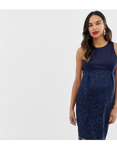 Navy donna Vestito longuette in pizzo blu navy - Chi Chi London Maternity