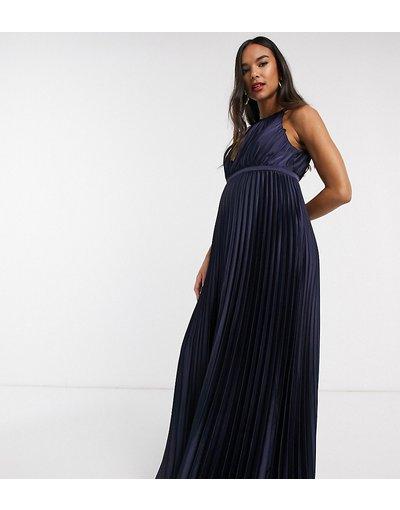 Navy donna Vestito lungo accollato in raso blu navy - Chi Chi London Maternity