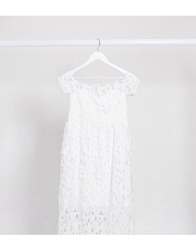 Maternita Bianco donna Vestito midi in pizzo bianco con scollo alla Bardot - Chi Chi London Maternity