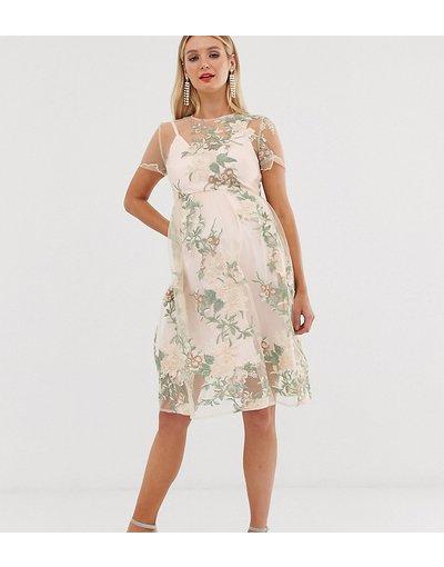 Multicolore donna Vestito midi ricamato con rivestimento trasparente rosa - Chi Chi London Maternity - Multicolore