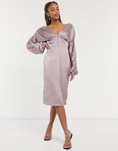 Rosa donna Vestito midi in raso color visone con profonda scollatura e bottoni - Chi Chi London - Paislie - Rosa