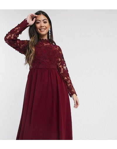 Eleganti longuette Rosso donna Vestito midi bordeaux ricamato a maniche lunghe - Chi Chi London Petite - Rosso