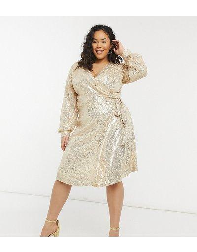 Oro donna Vestito corto avvolgente allacciato in vita con paillettes oro chiaro - Chi Chi London Plus