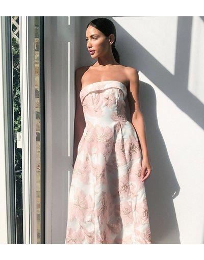 Rosa donna Vestito lungo a fascia in jacquard rosa - Chi Chi London Tall