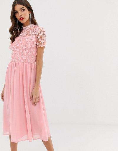 Rosa donna Vestito 2 in 1 skater rosa con applicazioni 3D e gonna in tulle - Chi Chi London