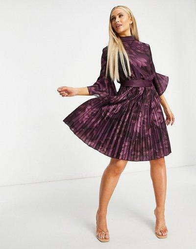 Viola donna Vestito corto con maniche svasate color mora a fiori - Chi Chi London - Viola