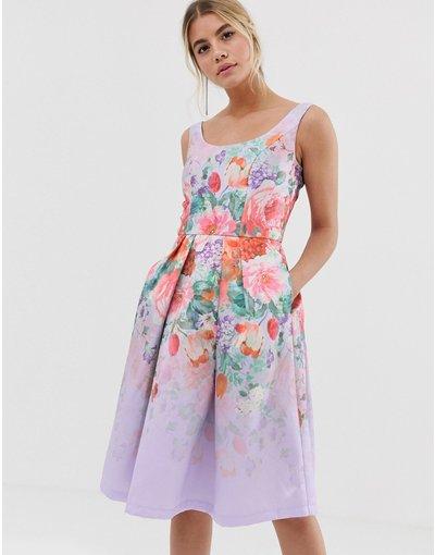 Multicolore donna Vestito da cerimonia midi in raso con profondo scollo rotondo e applicazioni floreali - Chi Chi London - Multicolore