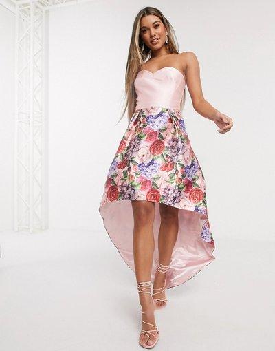 Rosa donna Vestito da prom a fascia con fondo asimmetrico visone a fiori - Chi Chi London - Rosa