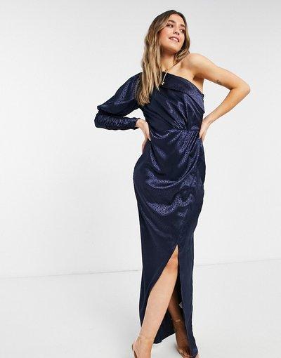 Blu navy donna Vestito in raso monospalla drappeggiato in raso blu navy - Chi Chi London