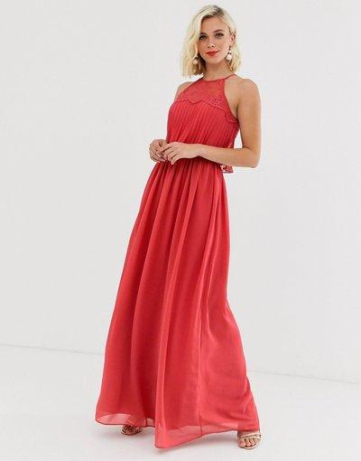 Rosso donna Vestito lungo allacciato al collo rosso brunito - Chi Chi London