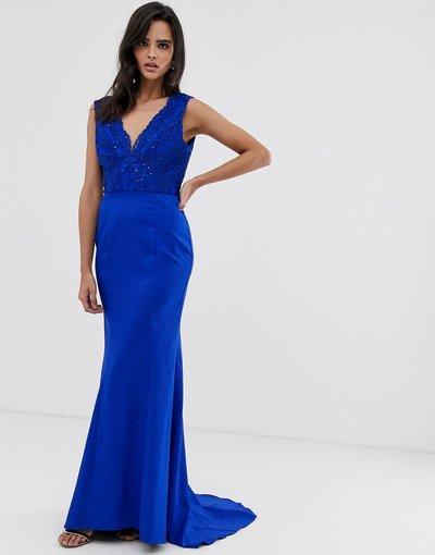 Blu donna Vestito lungo blu reale con pizzo, scollo profondo sul davanti e fondo a sirena - Chi Chi London