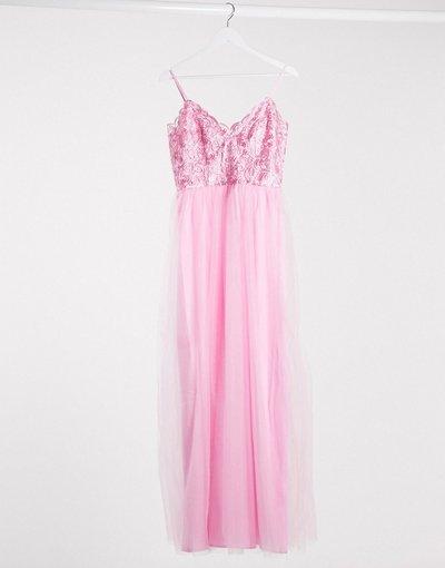 Rosa donna Vestito lungo con scollo profondo rosa - Chi Chi London