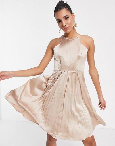Oro donna Vestito midi accollato a pieghe oro rosa - Chi Chi London
