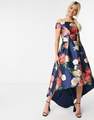 Navy donna Vestito midi asimmetrico con scollo Bardot blu navy a fiori - Chi Chi London
