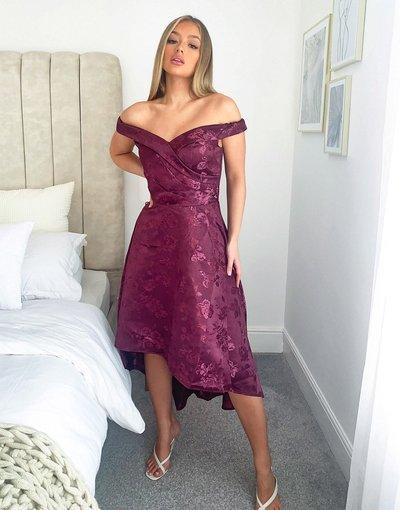 Rosso donna Vestito midi asimmetrico con scollo Bardot color mora - Chi Chi London - Rosso