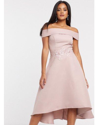 Rosa donna Vestito midi asimmetrico con scollo Bardot visone - Chi Chi London - Rosa