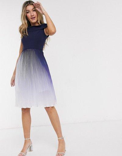 Multicolore donna Vestito midi blu navy sfumato a pieghe - Chi Chi London - Multicolore