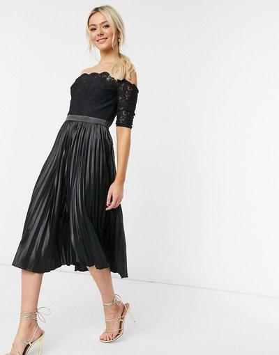 Nero donna Vestito midi in pizzo con scollo Bardot nero - Chi Chi London