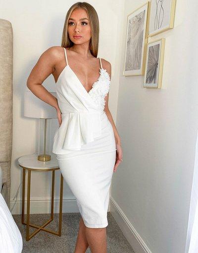 Bianco donna Vestito peplo longuette bianco con fantasia floreale in 3D - Chi Chi London