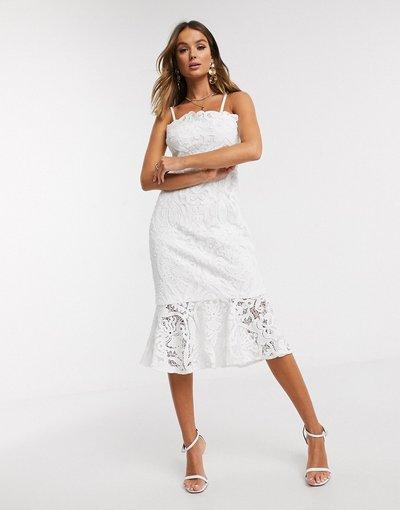 Bianco donna Vestito peplo longuette in pizzo bianco - Chi Chi London