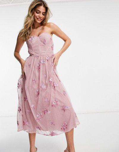 Rosa donna Vestito per il ballo di fine anno a spalle scoperte color visone con fiori 3D - Chi Chi London - Rosa