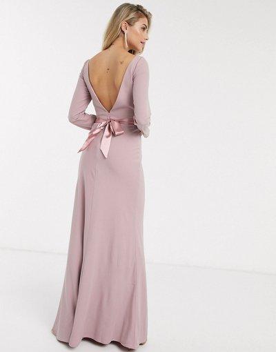 Rosa donna Vestito lungo rosa con fiocco sul retro - Valentina - Chi Chi