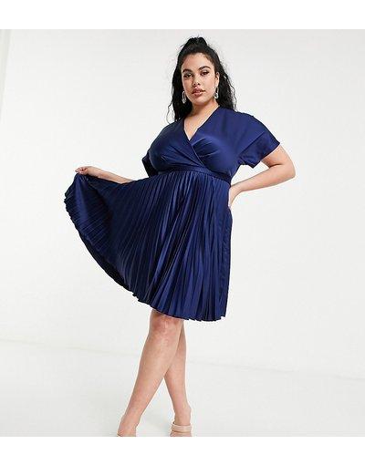 Blu navy donna Vestito skater midi a pieghe con davanti a portafoglio blu navy - Closet London Plus