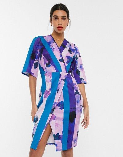 Eleganti pantaloni Multicolore donna Vestito midi a portafoglio con maniche a campana a fiori - Closet London - Multicolore