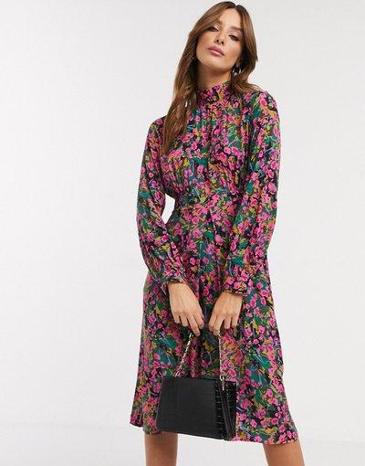 Eleganti pantaloni Multicolore donna Vestito midi accollato a fiorellini con maniche a sbuffo - Closet London - Multicolore