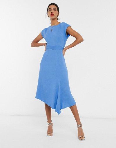 Eleganti pantaloni Blu donna Vestito midi con maniche a kimono e fondo asimmetrico blu - Closet London