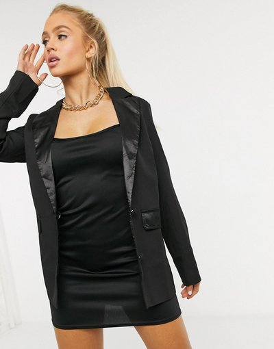 Nero donna Blazer da smoking nero con dettagli in raso - Club L London