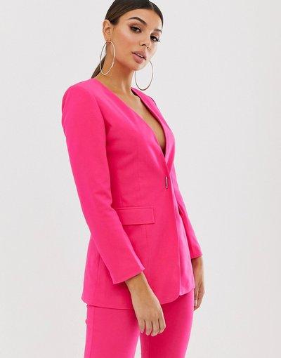 Rosa donna Blazer monopetto con chiusura con dettaglio - Club L London - Rosa