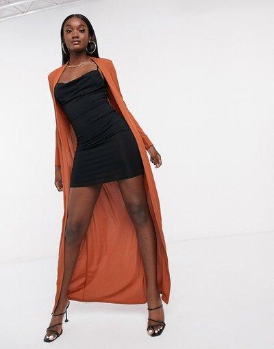 Arancione donna Cardigan lungo color ruggine in coordinato - Club L London - Arancione