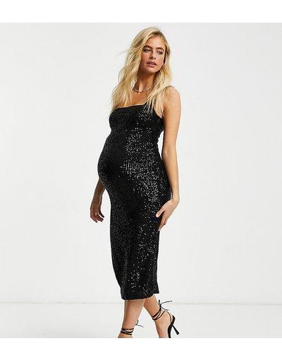 Maternita Nero donna Vestito longuette con scollo squadrato nero con paillettes - Club L London Maternity