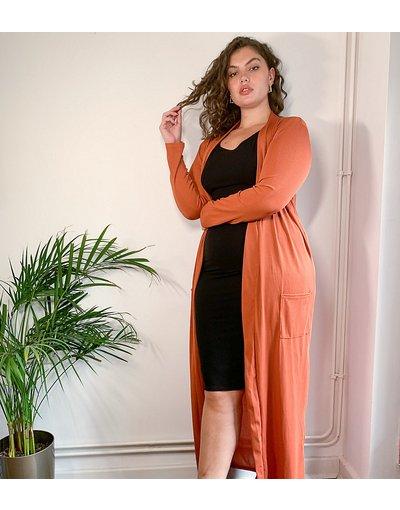 Arancione donna Cardigan lungo color ruggine in coordinato - Club L London Plus - Arancione